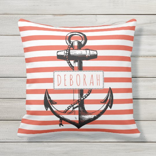 Vintage Anchor On Coral Striped Pattern Nautical Outdoor Pillow