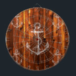 "Vintage Anchor on Dark Wood Boards<br><div class=""desc"">A vintage white sailing anchor design pattern on dark wood boards. The perfect gift for men and women who love nautical themed gifts, antique anchor designs, sailor themed graphics, and ship &amp; sailboat lovers. If you love nautical inspired art prints that combine vintage imagery with classic textures like the wooden...</div>"