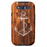 Vintage Anchor on Dark Wood Boards Samsung Galaxy S3 Cases