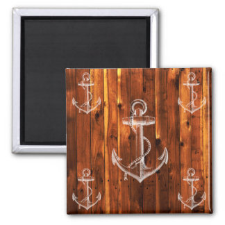 Vintage Anchor on Dark Wood Boards 2 Inch Square Magnet