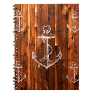 Vintage Anchor on Dark Wood Boards Notebook