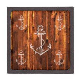 Vintage Anchor on Dark Wood Boards Premium Jewelry Box
