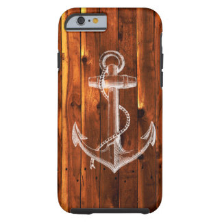 Vintage Anchor on Dark Wood Boards Tough iPhone 6 Case