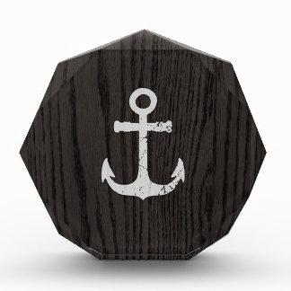 Vintage Anchor On Dark Woodgrain Acrylic Award