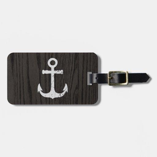 Vintage Anchor On Dark Woodgrain Luggage Tags