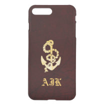 Vintage Anchor on Faux Scratched Leather Nautical iPhone 7 Plus Case