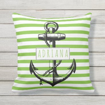 Beach Themed Vintage anchor on green striped pattern nautical throw pillow