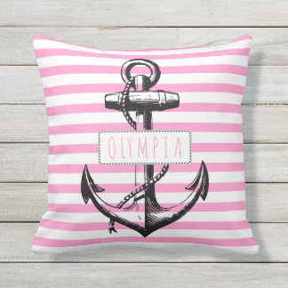 Pink Pillows - Vintage anchor on pink striped pattern nautical outdoor pillow