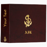 Vintage Anchor on Scratched Leather Nautical Look Binder