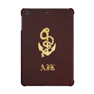 Vintage Anchor on Scratched Leather Nautical Look iPad Mini Covers