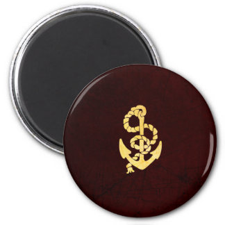 Vintage Anchor on Scratched Leather Nautical Look 2 Inch Round Magnet