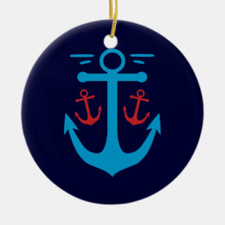 Vintage Anchor Double-Sided Ceramic Round Christmas Ornament
