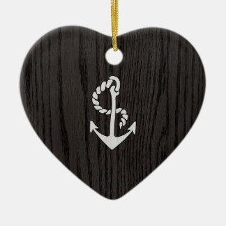 Vintage Anchor Over Woodgrain Ceramic Ornament