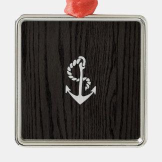 Vintage Anchor Over Woodgrain Square Metal Christmas Ornament