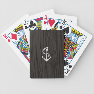 Vintage Anchor Over Woodgrain Bicycle Card Deck