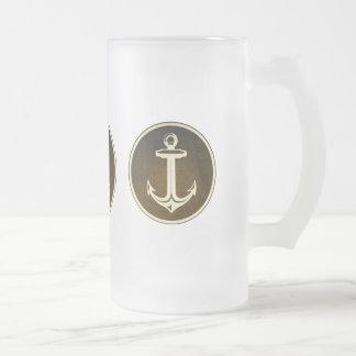 Vintage Anchor pattern Frosted Glass Beer Mug