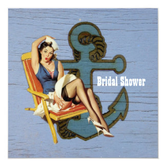 vintage  anchor pin up girl beach bridal shower card