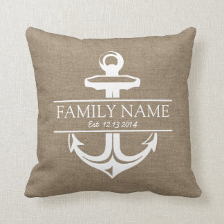 Vintage Anchor Rustic Burlap Family Name Throw Pillow