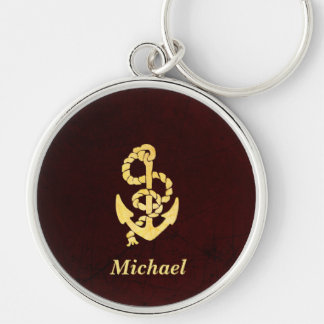 Vintage Anchor Scratched Leather Nautical Name Keychain