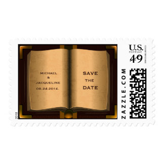 Vintage Ancient Book Save The Date Postage Stamp