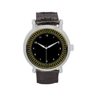 Vintage Ancient Greek Black Gold Pattern Watch