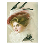 Vintage and Antique Fashions, Hats, Flapper Postcard