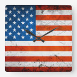 Vintage and Distressed American Flag Square Wall Clock