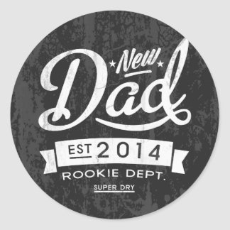 Vintage and Eye Catching New Dad 2014 Classic Round Sticker