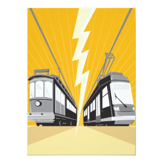 Vintage and Modern Streetcar Tram Train Personalized Invite