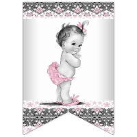 Vintage and Pink Gray Girl Baby Shower Bunting Flags