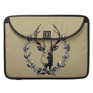 Vintage and Rustic Deer Head in Laurel Leaves Sleeve For MacBooks