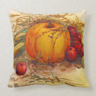 Vintage And Rustic Harvest Happy Thanksgiving Throw Pillow