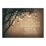 Vintage And Rustic Mason Jar String Lights Wedding Card at Zazzle