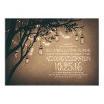 Vintage And Rustic Mason Jar String Lights Wedding Card at Zazzle