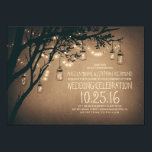 """Vintage and Rustic Mason Jar String Lights Wedding Card<br><div class=""""desc"""">Vintage wedding invitations with strings of lights,  mason jars hanging on the old tree branches,  and fireflies. Cute stylish summer wedding invitation. -- All design elements created by Jinaiji.</div>"""