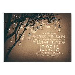 Vintage and Rustic Mason Jar String Lights Wedding Card