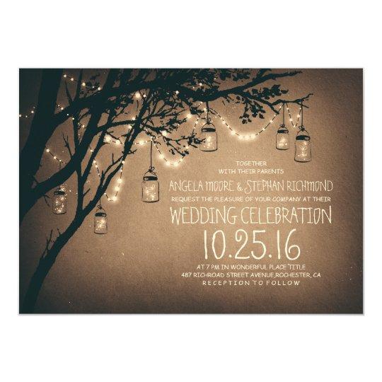 vintage and rustic mason jar string lights wedding card - Rustic Wedding Invites