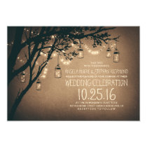 Vintage and Rustic Mason Jar String Lights Wedding Invitation