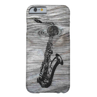 Vintage and Rustic Saxophone On old Wood Barely There iPhone 6 Case