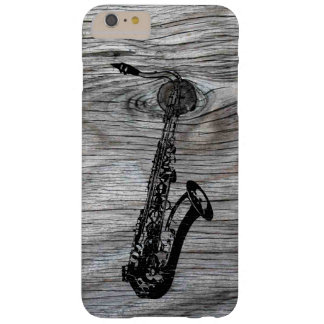Vintage and Rustic Saxophone On old Wood Barely There iPhone 6 Plus Case