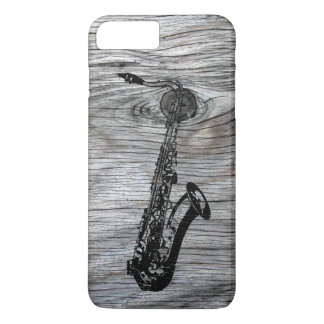 Vintage and Rustic Saxophone On old Wood iPhone 7 Plus Case