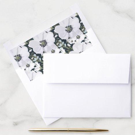 Vintage Anemone Envelope Liner