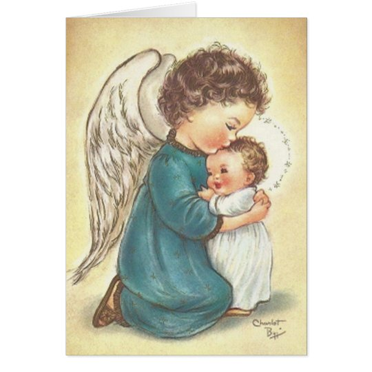 vintage angel and baby jesus christmas card zazzlecom