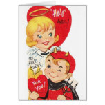 Vintage Angel And Devil Valentine's Day Card