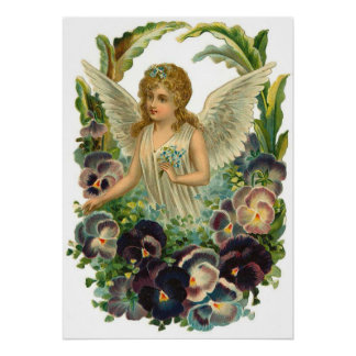 Vintage Angel and Pansies in the Garden Poster