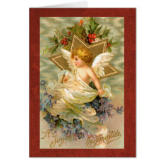 Vintage Angel And Star Christmas Holiday Card at Zazzle
