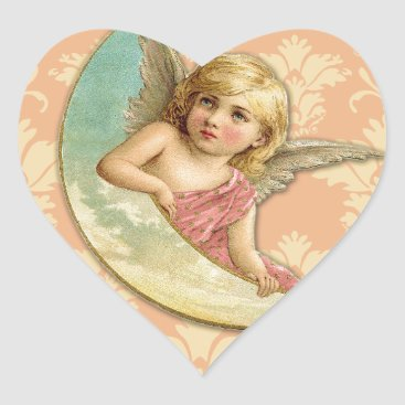 Christmas Themed Vintage Angel // Aqua, Coral & Gold Heart Sticker