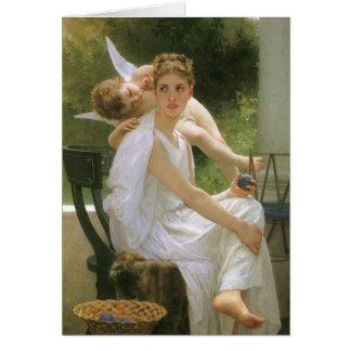 Vintage Angel Art, Work Interrupted by Bouguereau Card