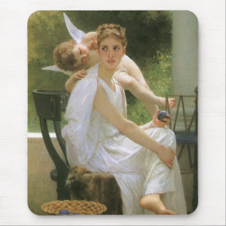Vintage Angel Art, Work Interrupted by Bouguereau Mouse Pad