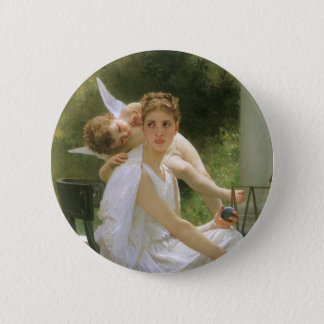 Vintage Angel Art, Work Interrupted by Bouguereau Pinback Button